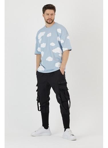 XHAN Mavi Bulut Desenli Kabartma Baskılı Oversize T-Shirt 1Kxe1-44798-12 Mavi